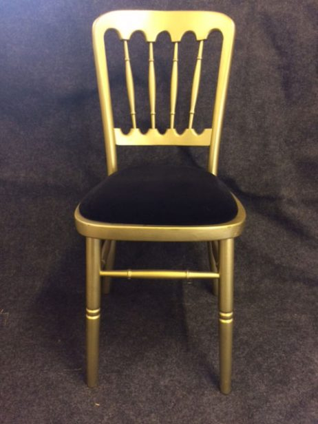 Gold banqueting chair with black pad