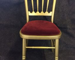 Gold banqueting chair with burgundy pad