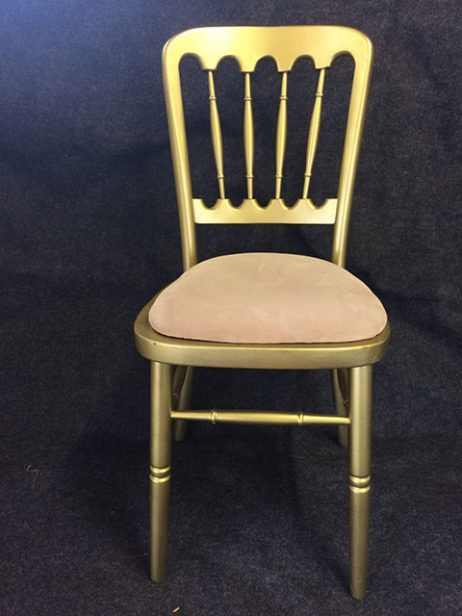 Gold banqueting chair with cream pad
